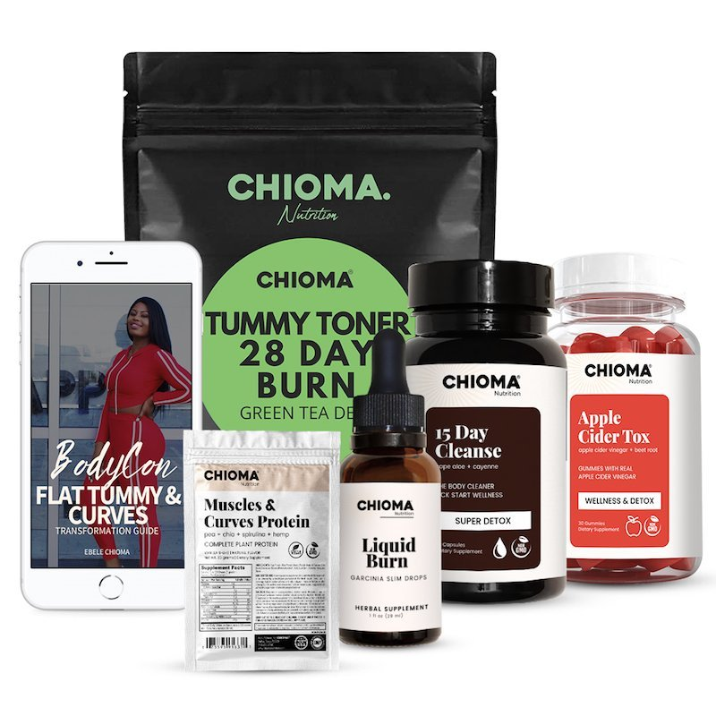 CHIOMA BodyCon Slimming body transformation bundle with complete vegan protein